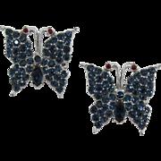 Two Deep Blue Rhinestone Butterfly Pins