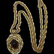 Napier Modernist Pendant Necklace with Huge Smoky Topaz Cabochon - LAST CHANCE