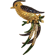 Sphinx Blue and Green Enameled Fantasy Bird Brooch