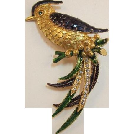 Sphinx Blue and Green Enameled Fantasy Bird Brooch