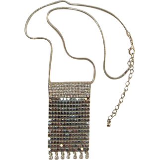 Silver-tone Mesh and Clear Rhinestone Necklace