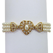 Elegant Three Strand Imitation Pearl Bracelet with Heart Focal Piece