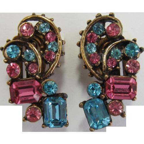 Claudette Pink and Aquamarine Rhinestone Earrings