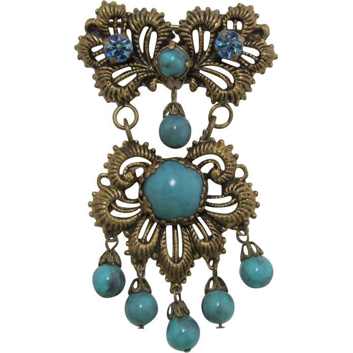 Victorian Revival Pin with Imitation Turquoise Dangles