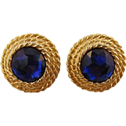 1980's Twisted Rope Earrings with Blue-Purple Rhinestones