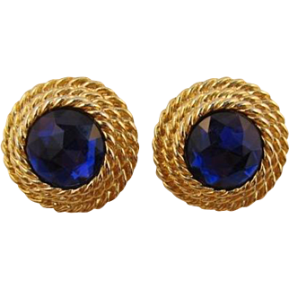 1980's Twisted Rope Earrings with Blue-Purple Rhinestone