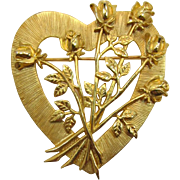 J.J. Jonette Jewelry Heart and Flower Brooch for Valentine's Day