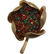 Schrager Gold-tone Flower with Green and Red Rhinestones