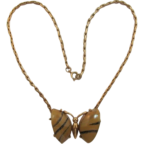 Eisenberg Striped Butterfly Necklace