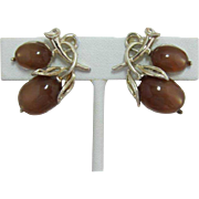 Lisner Brown Moonglow Acorn Earrings