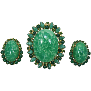 Outstanding D&E / Juliana Green Matrix Brooch and Earring Set
