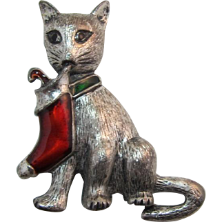Kitty Cat Pin with Enameled Christmas Stocking