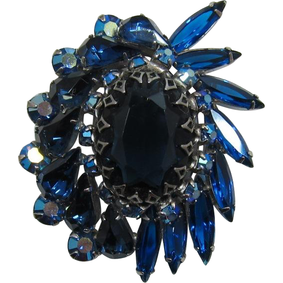 Gorgeous Blue Navette and Oval Rhinestone Brooch