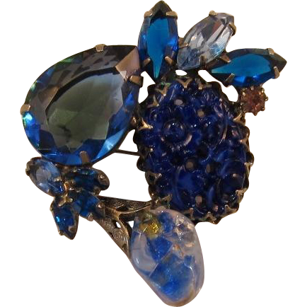 """Blue """"Carved"""" and Large Pear-Shaped Rhinestone Brooch"""