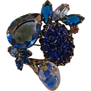 "Blue ""Carved"" and Large Pear-Shaped Rhinestone Brooch"