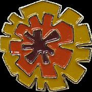Signed Coro Mod Enameled Pin - Orange, Gold, Brown