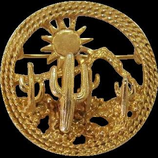 Bright Gold-tone Desert Scene Cactus Pin