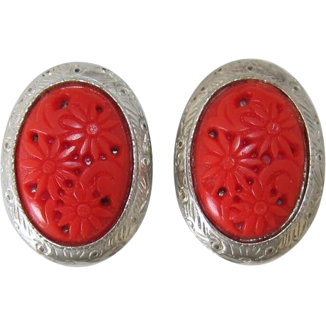 Selro or Selini Cherry Red Thermoplastic Flower Earrings