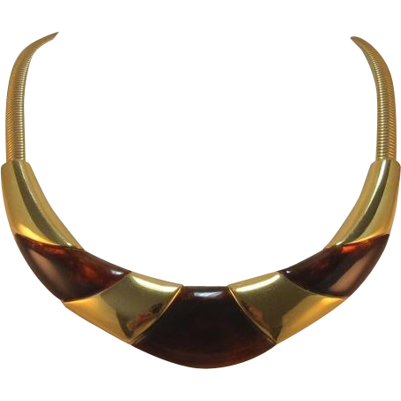Gorgeous Wide Napier Gold-tone and Tortoise Necklace