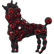 Ruby Red Rhinestone Poodle Pin