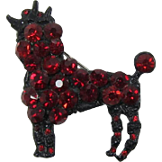 Black Japanned and Ruby Red Rhinestone Poodle Pin