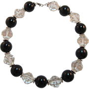 Trifari Black and Clear Lucite Beaded Necklace