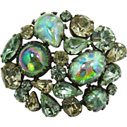 Dazzling Regency Green and Yellow Rhinestone Brooch