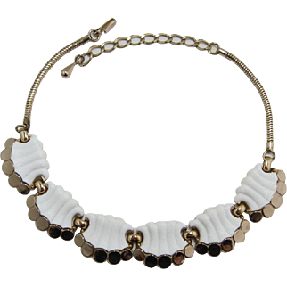 Bright White and Gold-tone Summer Necklace