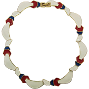 Monet Off-White, Red and Blue Enameled Link Necklace