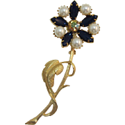 Large Flower Pin with Deep Blue Navettes and Imitation Pearls