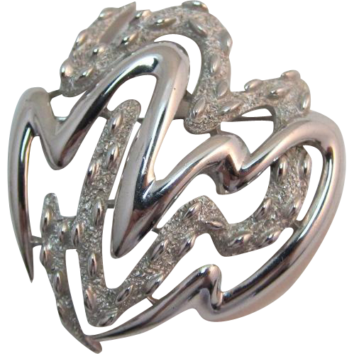 Signed Trifari Modernist Silver-tone Brooch