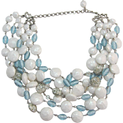 LAST CHANCE - Six Strand Imitation Pearl, Blue and Blue-grey Speckled Beaded Necklace