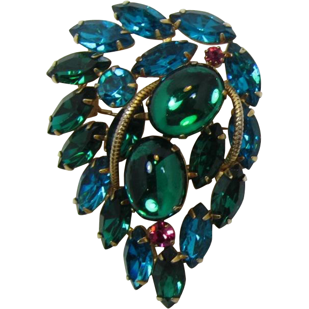 Emerald Green and Teal Brooch/Pendant