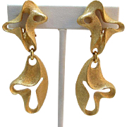Phenomenol Escada Made in France Bright Gold-tone Modernist Dangling Earrings