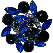 Deep Blue and Bright Sapphire Blue Navette Brooches