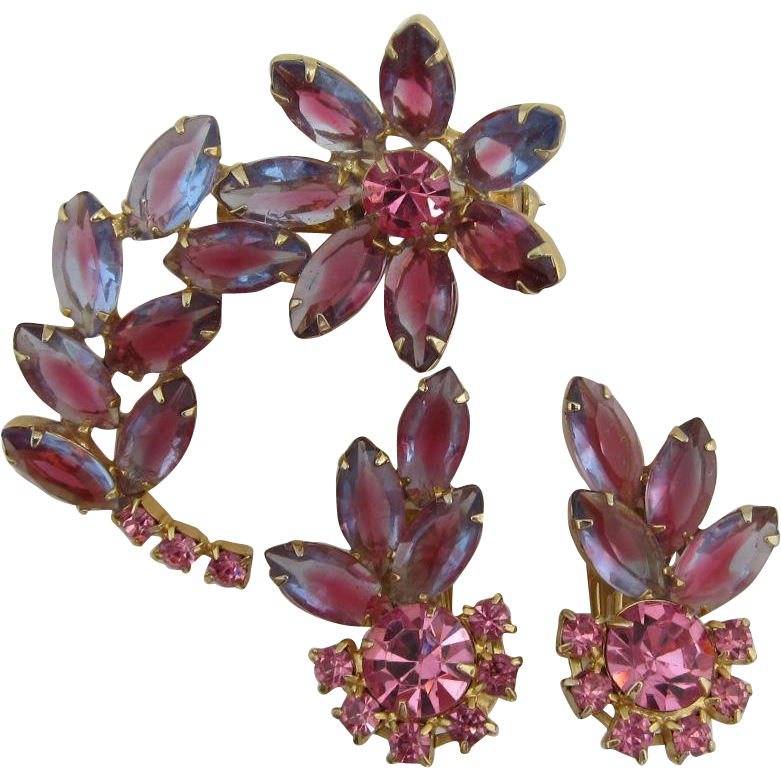 Pink-purple Navette Flower Pin and Earring Set