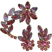 Gorgeous Pink-purple Navette Flower Pin and Earring Set