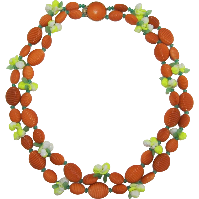 Orange Beaded Necklace with Neon Yellow and White Flowers