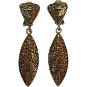 Bijoux N.Y. Long Dangling Earrings with Madeira Topaz Rhinestones