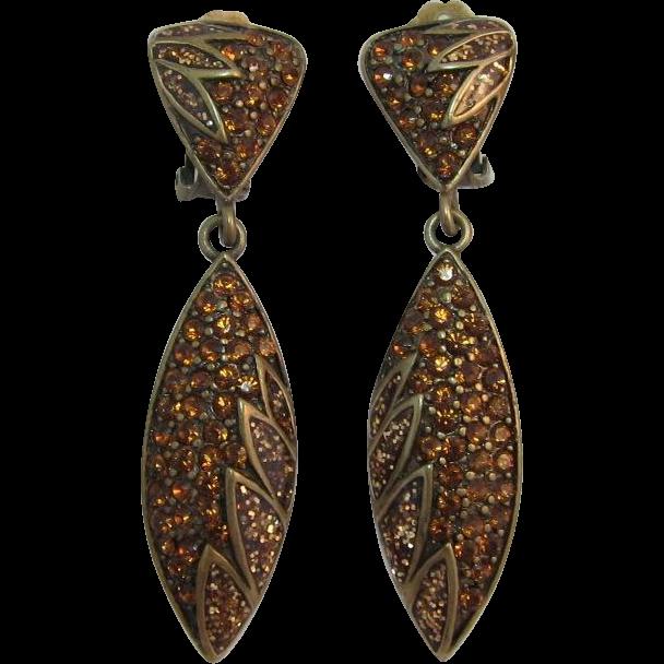 Bijoux N.Y. Long Dangling Earrings with Madeira Topaz Rhinestones