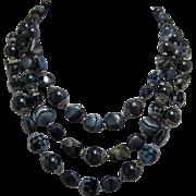 Trifari Striking Three Strand Grey and Silver-tone Beaded Necklace