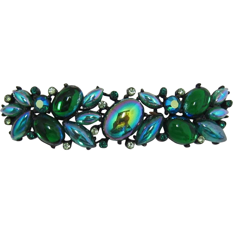 Rousseau Green Iridescent Cabochon Brooch