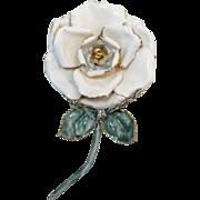Sandor Bright White Enameled Rose Brooch