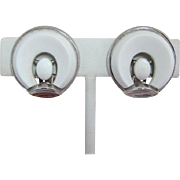 Trifari White Thermoplastic Earrings with Cabochons