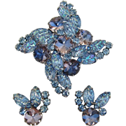 Beautiful D&E Juliana Iridescent Blue Molded Navette Brooch & Earrings