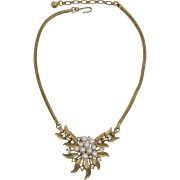 Beautiful Trifari Imitation Pearl and Rhinestone Cluster Necklace