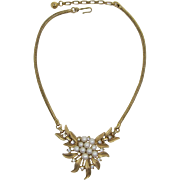 Beautiful Trifari Imitation Pearl and Rhinestone Cluster Necklace