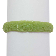 Signed Japan Celluloid Bracelet - Celadon Green