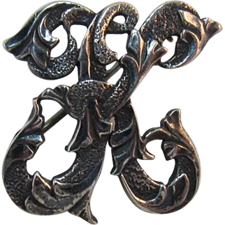 """Signed Cini Nouveau Style Initial """"K"""" Pin - Hard to Find"""