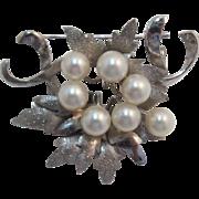 Pretty Sterling Silver Cultured Pearl Brooch/Pendant